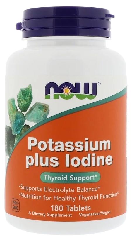 Купить Минеральный комплекс NOW Potassium Plus Iodine 180 табл. без вкуса