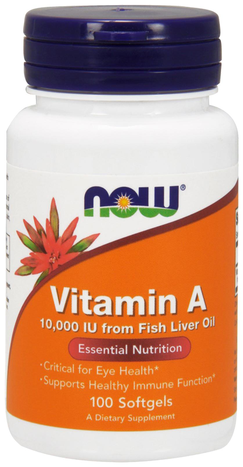 Купить Vitamin A, Витамин A NOW 10000 Iu 100 гелевых капсул