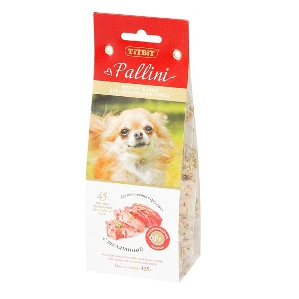 Лакомство для собак TiTBiT, печенье Pallini с телятиной, 125г фото