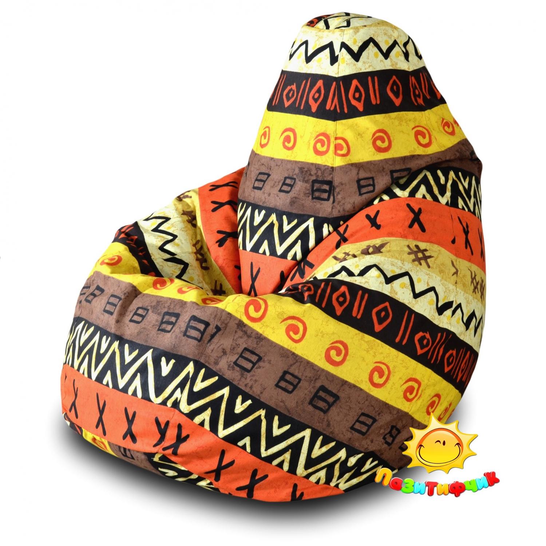 Кресло-мешок Pazitif Груша Пазитифчик Африкан 05, размер XXL, жаккард, разноцветный фото