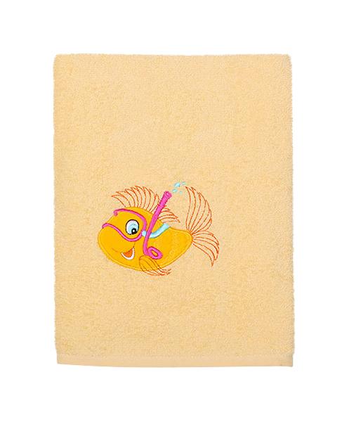Полотенце Kidboo Рыбка 70х100 желтое,  - купить со скидкой