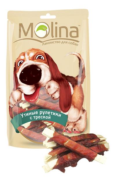 Лакомство для собак Molina Утиные рулетики с треской, 80г