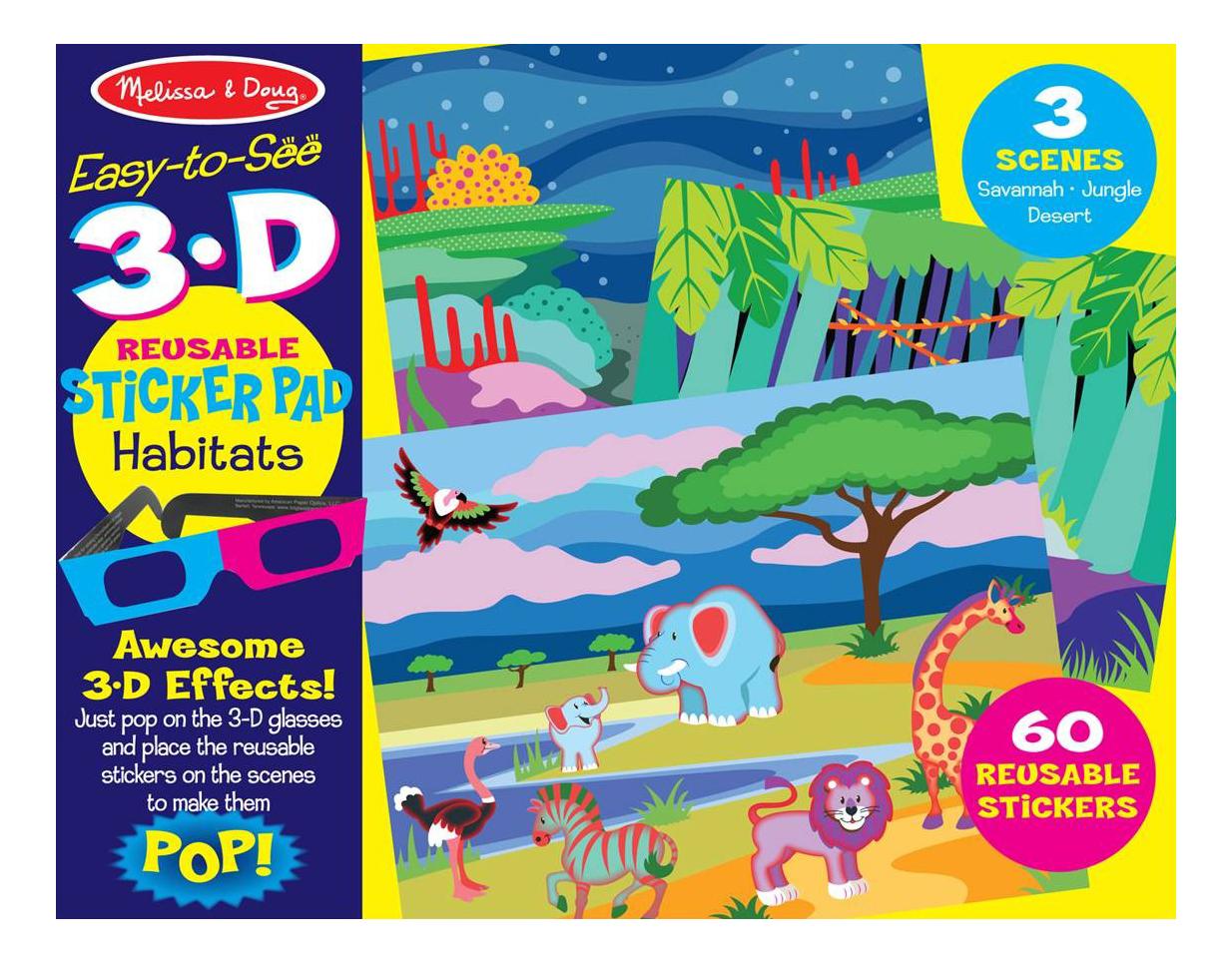Купить Набор для творчества Melissa&Doug Творчество Среда обитания с 3D очками (9376), Melissa & Doug, Книги по обучению и развитию детей