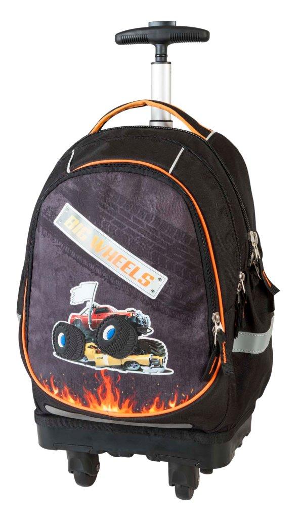 Рюкзак-тележка Большие колеса чёрный с оранжевым 17891