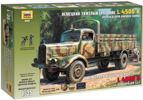 Купить Сборная модель Zvezda Немецкий тяжелый грузовик L 4500A (3596), Модели для сборки
