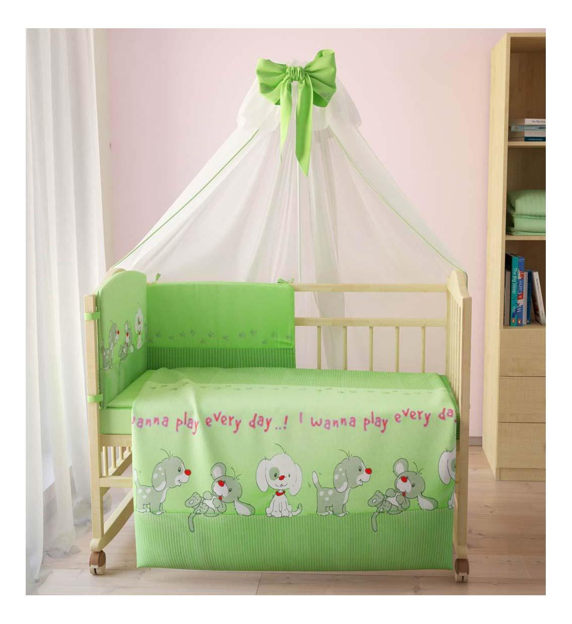 Комплект детского постельного белья Тополь Фея Веселая игра зеленый Веселая игра 7предметов, зеленый