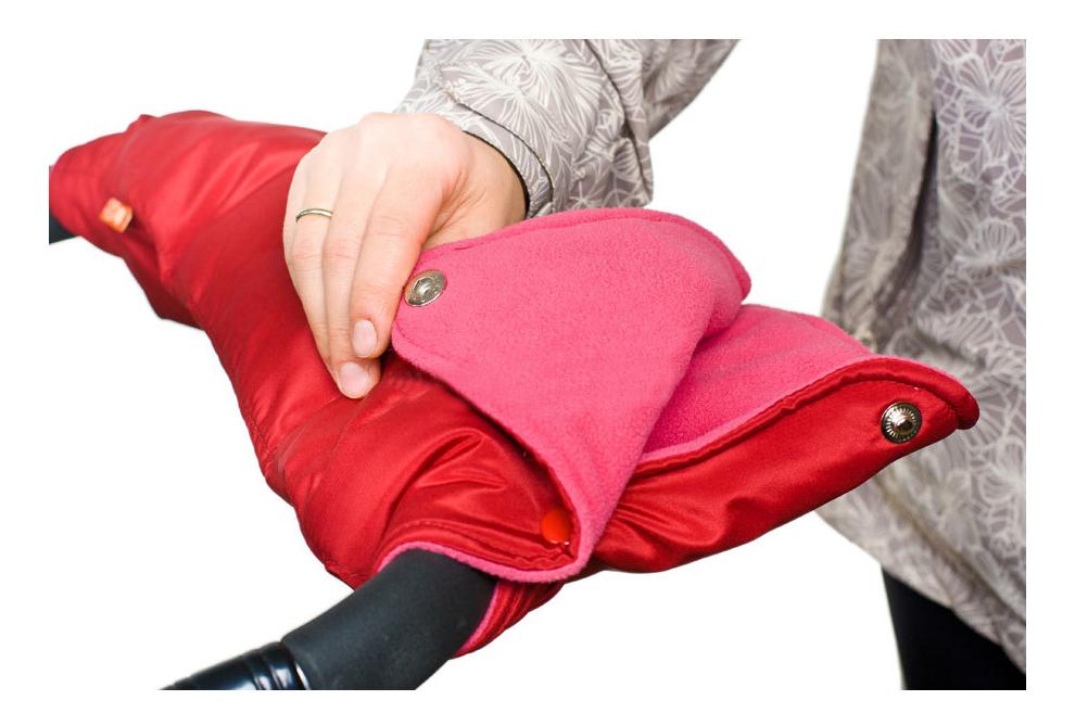Муфта для рук мамы на детскую коляску Чудо-Чадо Флисовая (кнопки) вишневый фото