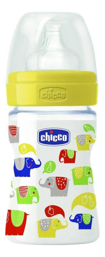 Купить Well-Being, Детская бутылочка Chicco Wellbeing 150 мл (желтая), Бутылочки для кормления