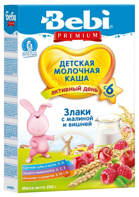 Купить Злаки с малиной и вишней 200 г, Молочная каша Bebi Злаки с малиной и вишней с 6 мес 200 г, Детские каши