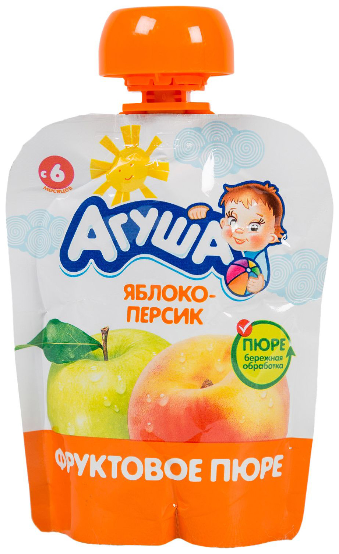 Купить Пюре Агуша Я САМ фруктовое 90 г Яблоко-персик (с 12 мес.), Фруктовое пюре