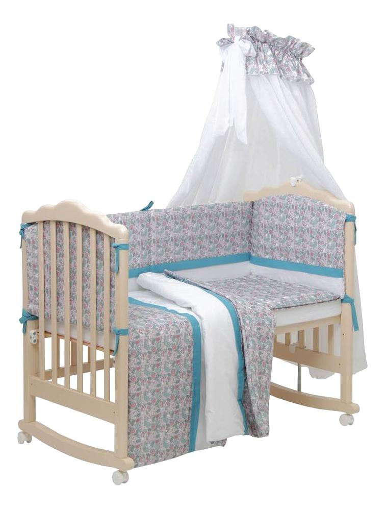 Комплект в кроватку Polini Disney Последний богатырь, 7 предметов, Принцесса голубой