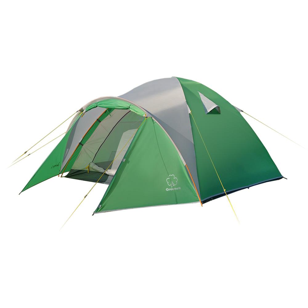 Палатка Greenell Дом трехместная зеленая/серая