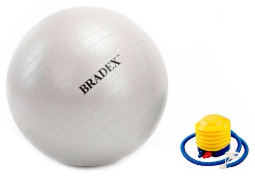 Мяч гимнастический Bradex Фитбол-75 с насосом, серый, 75 см фото