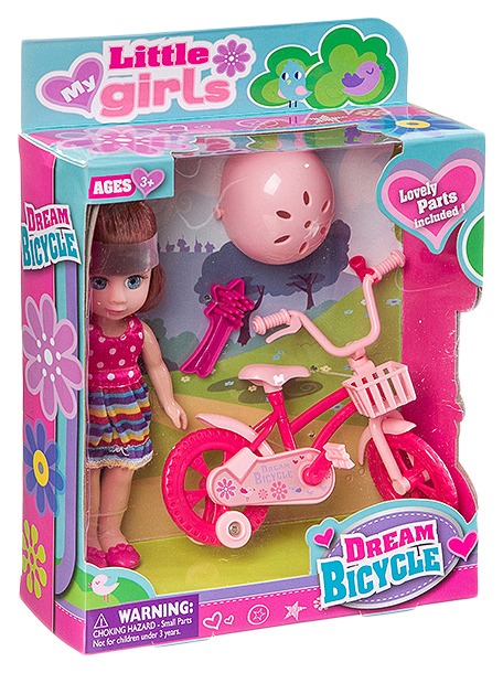 Набор игровой с куклой Dream Bicycle, BOX, 2 вида, арт.63004.