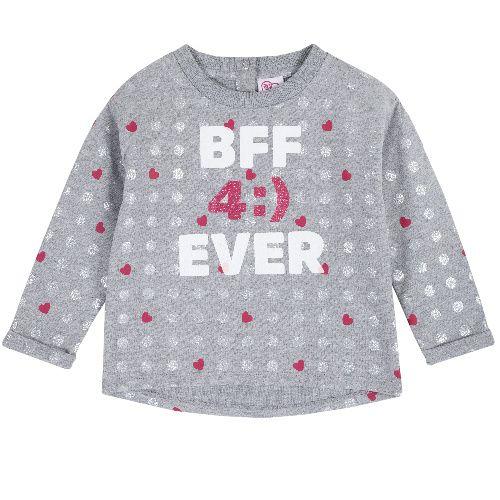 Купить 9069375, Свитшот Chicco для девочек р.104 цв.серый, Толстовки для девочек