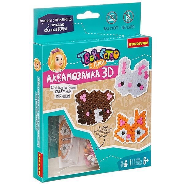 Купить Набор для творчества Аквамозаика 3D. Медведь, заяц, лиса , Bondibon, Мозаики
