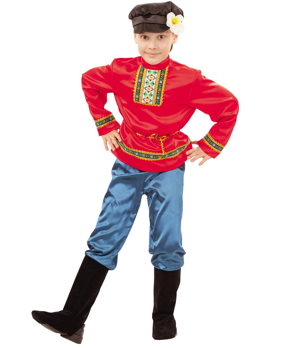 Карнавальный костюм Батик Крестьянин, цв. красный; синий; черный р.146