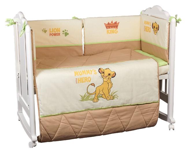 Комплект в кроватку Polini kids Disney Baby Король Лев, 5 предметов, макиато,  - купить со скидкой