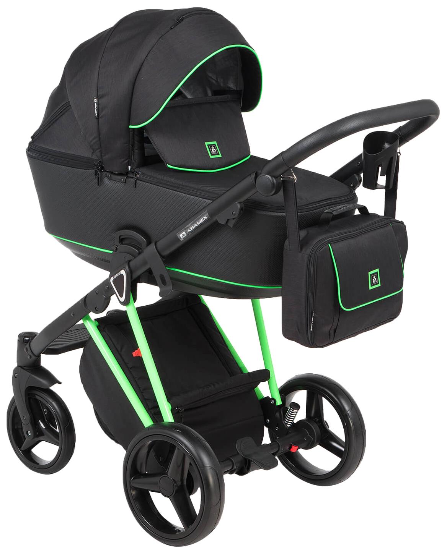 Купить Коляска 3 в 1 Adamex Cristiano CRISTIANO-FLUO-3-В-1-GREEN Green, Детские коляски 3 в 1