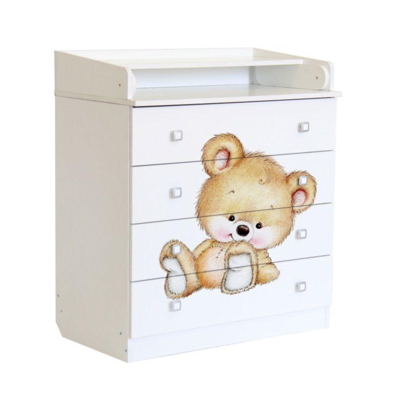 Купить Пеленальный комод Фея 1580 Медвежонок, белый, Polini Kids, Детские комоды