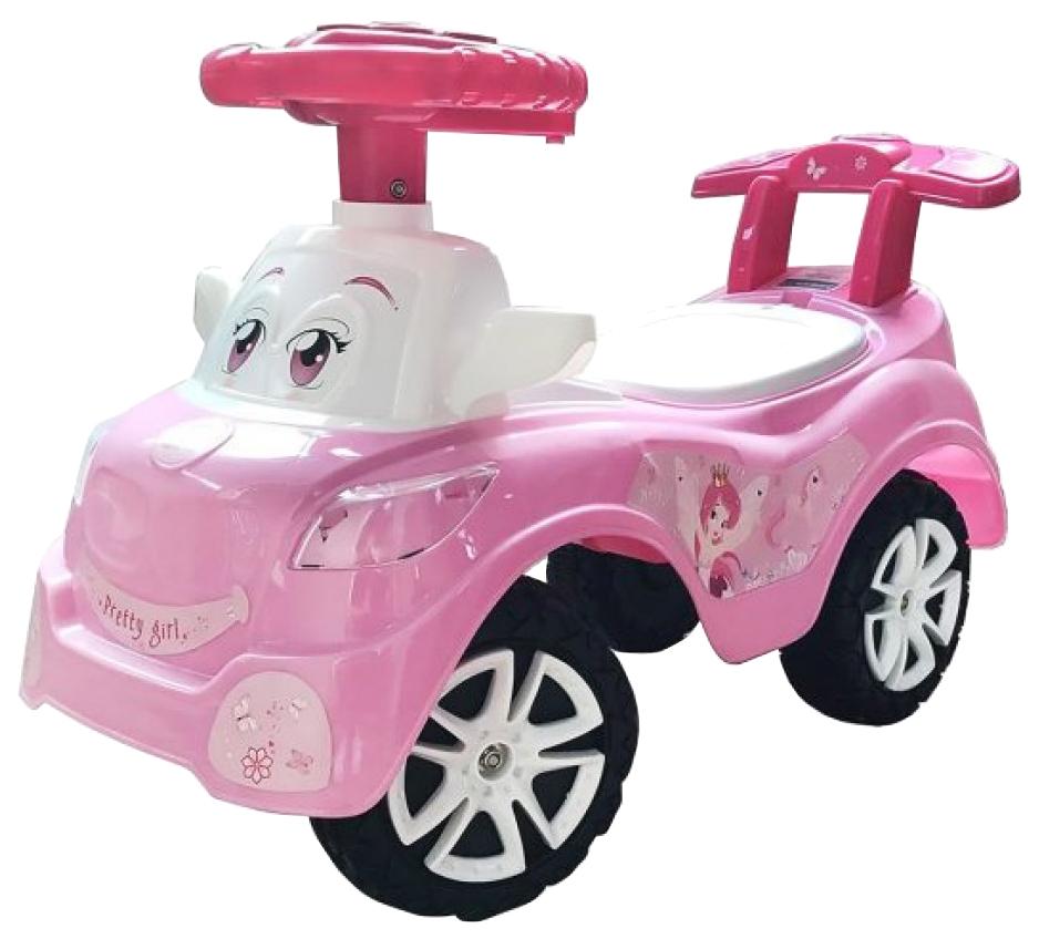 Машина-каталка Наша Игрушка Дружок розовая, музыкальная фото