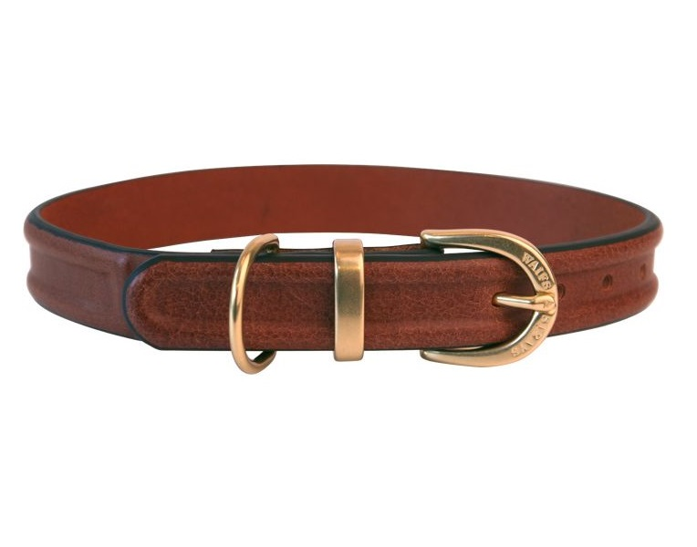 Ошейник W#and#S кожаный с проточиной для собак (L, Коричневый)