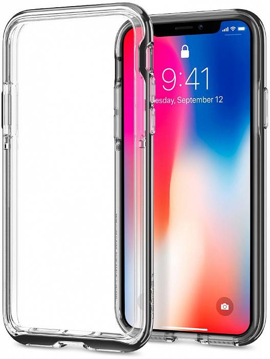 Чехол Spigen Neo Hybrid EX (057CS22684) для Apple iPhone X (Chrome Grey)