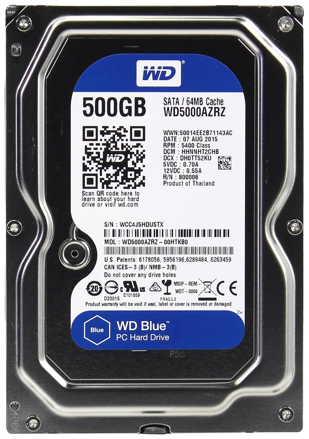 Внутренний жесткий диск Western Digital Blue 500GB