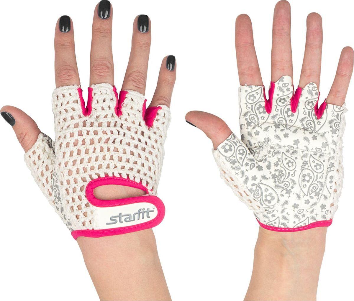 Перчатки для фитнеса StarFit SU 110, белые/розовые,