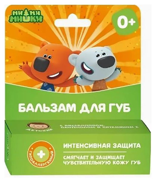 Купить Ми-ми-мишки Бальзам для губ детский Интенсивная забота гипоаллергенный 4, 2 г, Галант Косметик-М, Детские бальзамы для губ