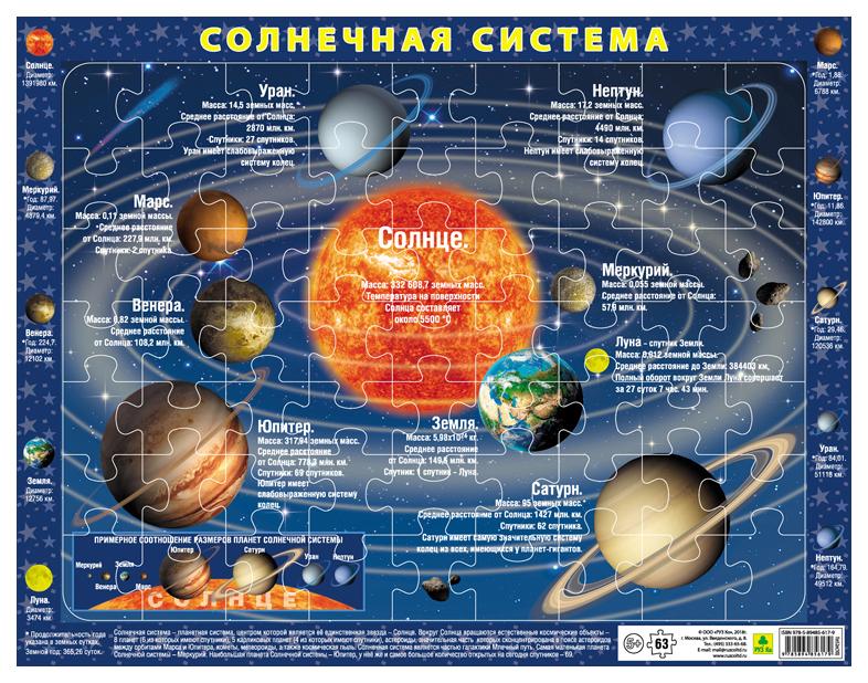 Солнечная система. Детский пазл на подложке(36х28 см, 63 эл.)