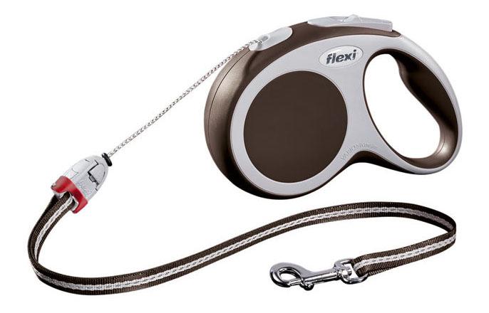 Поводок-рулетка flexi VARIO S ,до 12 кг, трос 5 м, коричневая