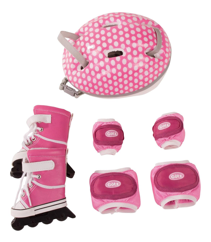 Купить Набор для катания на роликах, Набор для куклы Gotz для катания на роликах защита на колени, руки, ролики шлем, Аксессуары для кукол
