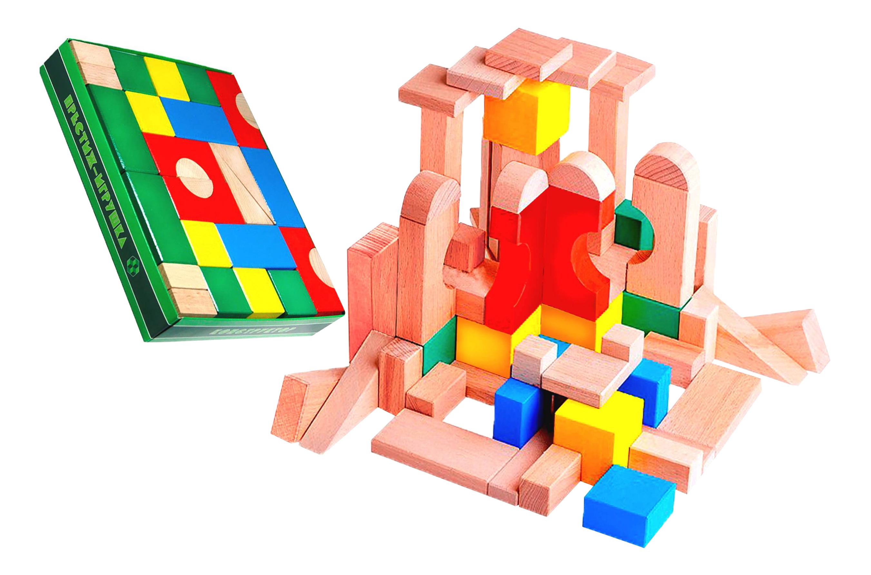 Купить СЦ1301, Конструктор деревянный Престиж-игрушка Конструктор деревянный цветной 60 детали, Престиж-Игрушка, Деревянные конструкторы