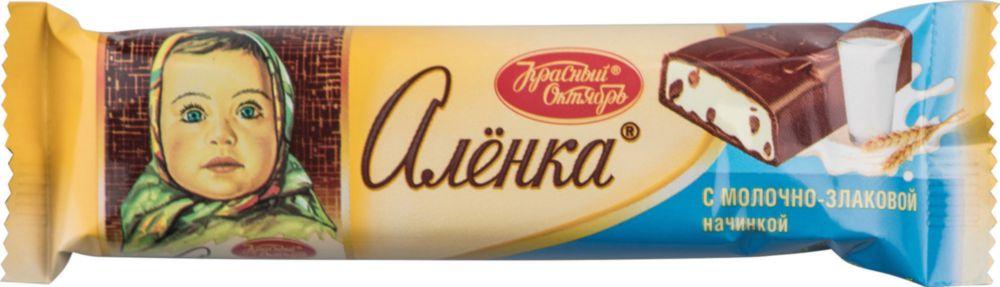 Шоколадный батончик Аленка с молочно-злаковой начинкой 45 г фото
