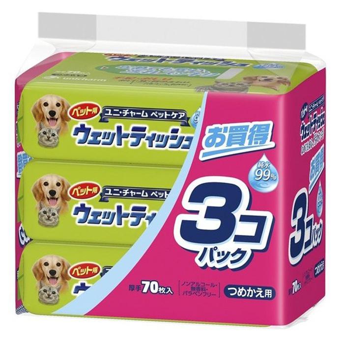 Влажные салфетки для животных UNICHARM, 3 упаковки по 70шт.