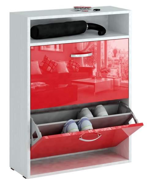 Обувница MFMaster Милан-25 МСТ-ОДМ-25 60х22,2х88,2 см, белый/красный глянец
