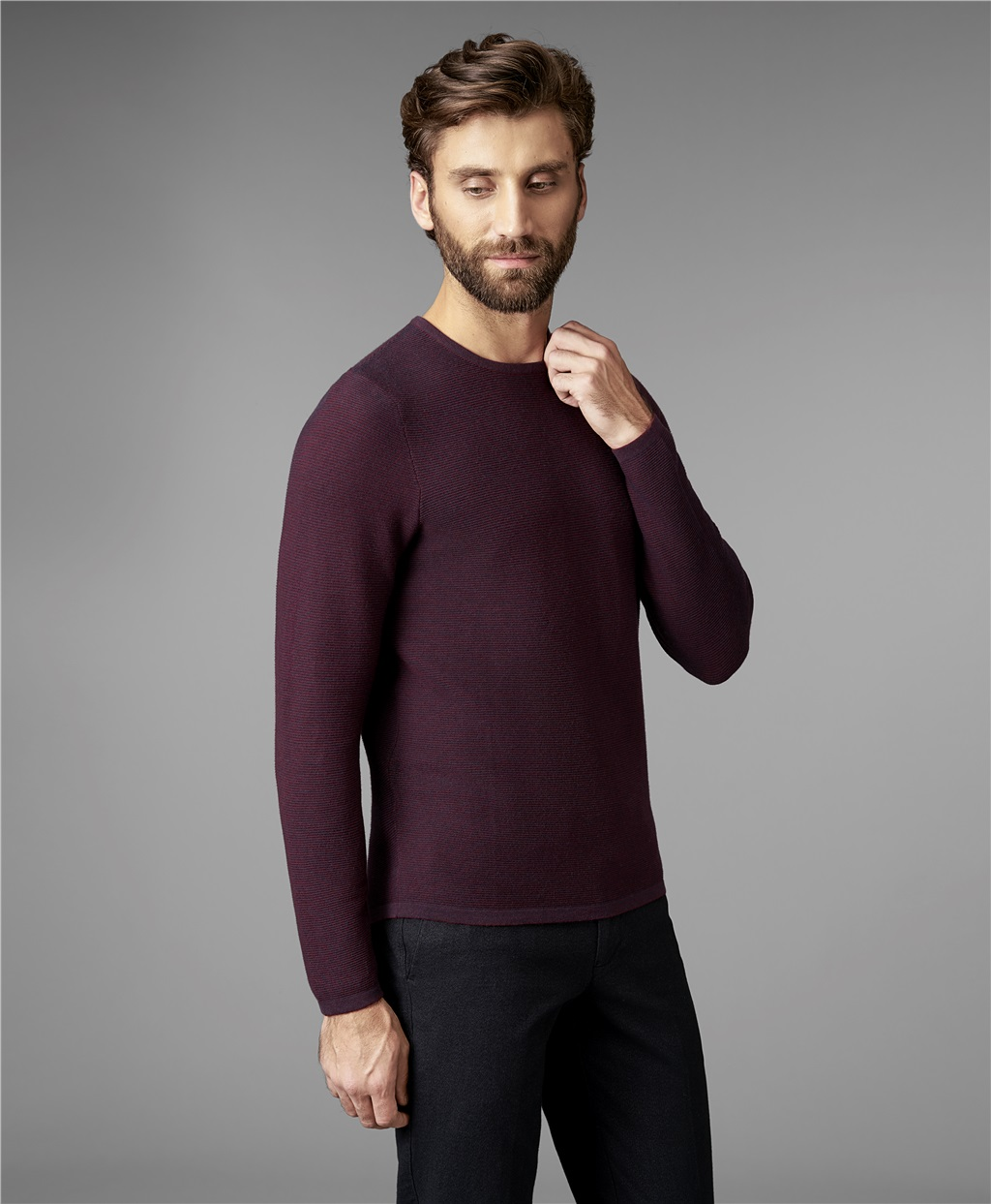Пуловер мужской HENDERSON KWL-0685 бордовый 46 фото
