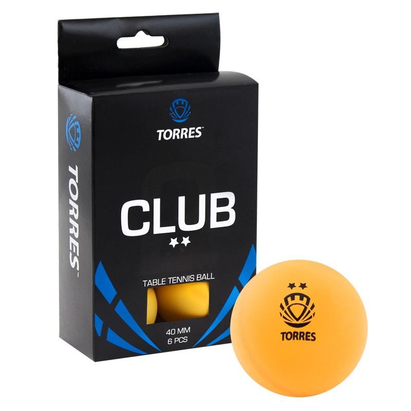 Мяч для настольного тенниса Torres Club 2 6 шт.ук, оранжевый фото