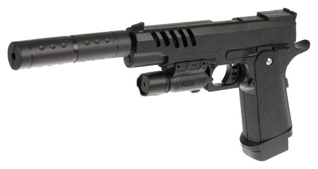 Пистолет пневматический Shantou Gepai с лазерным прицелом и глушителем