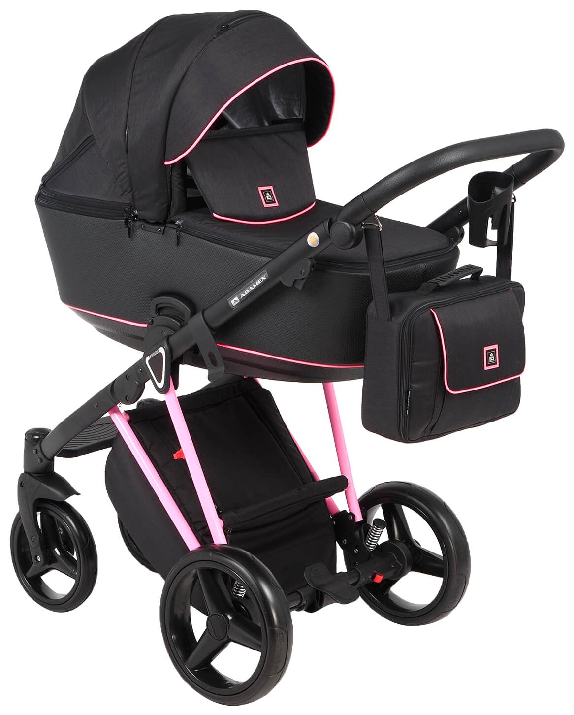 Купить Коляска 3 в 1 Adamex Cristiano CRISTIANO-FLUO-3-В-1-PINK Pink, Детские коляски 3 в 1