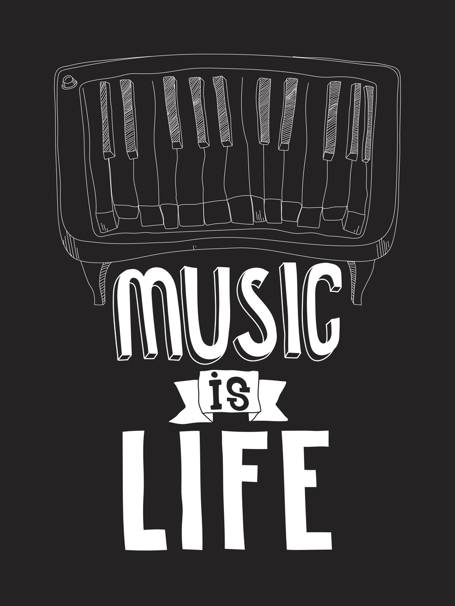 Картина на холсте 30x40 Music is Life Ekoramka HE-101-210