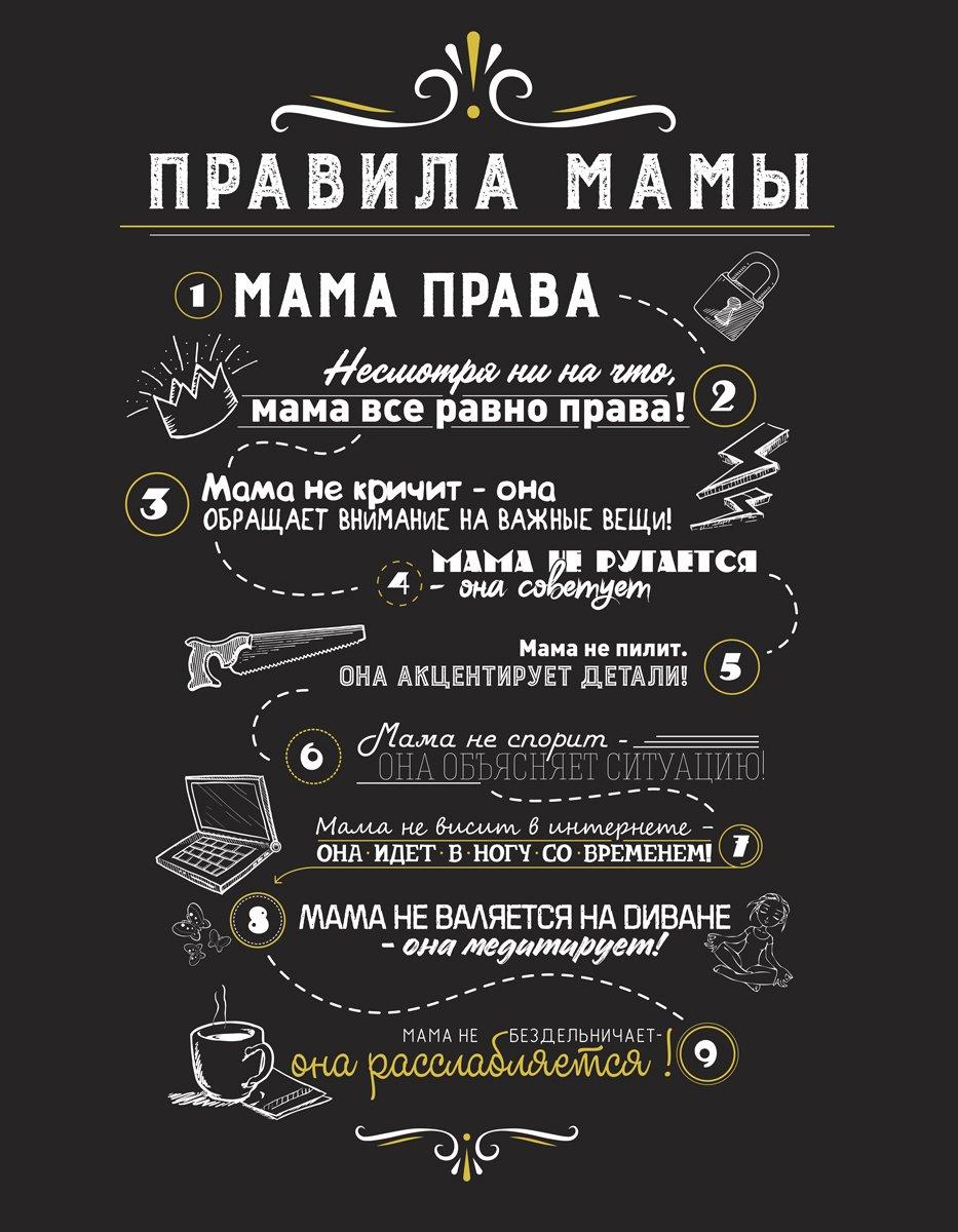 Картина на холсте 70x90 Правила мамы 2 Ekoramka HE-101-290