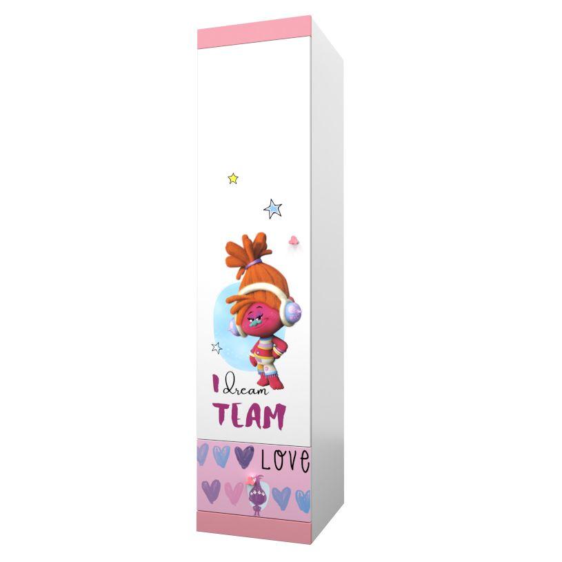 Купить Детский шкаф-пенал Polini kids Fun 460 Тролли, розовый, Шкафы в детскую комнату