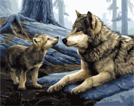 Картина по номерам Paintboy PK 38078 Волк и волчонок 40*50 Эксклюзив