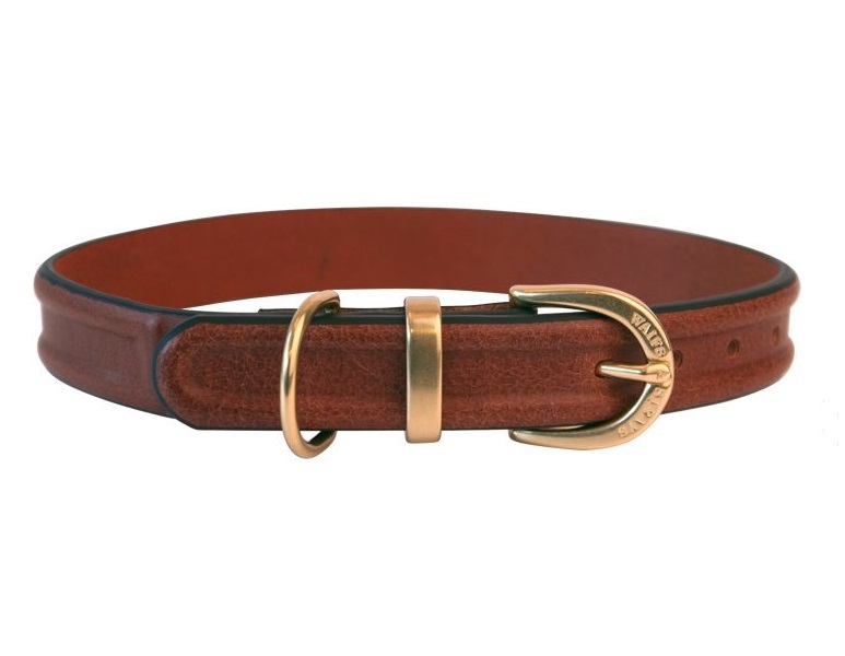 Ошейник W#and#S кожаный с проточиной для собак (M, Коричневый)