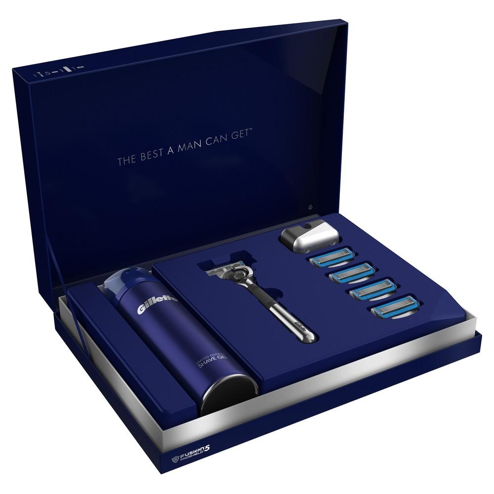 Подарочный набор Gillette Fusion5 ProShield Chill Бритва+5 см.кас.+гель д/бритья+подставка