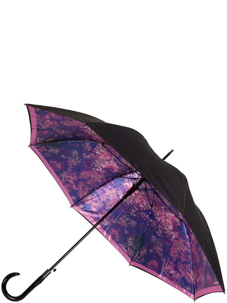 Зонт-трость женский автоматический Eleganzza 01-00025104 фиолетовый/черный