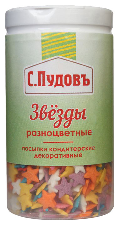 Посыпка С.Пудовъ кондитерская декоративная звезды разноцветные 40 г фото