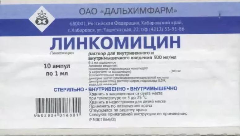 Линкомицина гидрохлорид раствор 30% 1 мл 10 шт. Дальхимфарм
